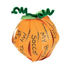 "Write what you're thankful for on each strip before crafting the pumpkin! Includes 7"" paper strips, chenille stems and metal paper fasteners. 6"" diam.  © OTCCraft Instructions"