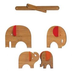 Deluxe Bamboo Elephant Mobile- Red