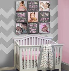Baby Girl's Name and Birthday Damask Nursery by DesignerCanvases