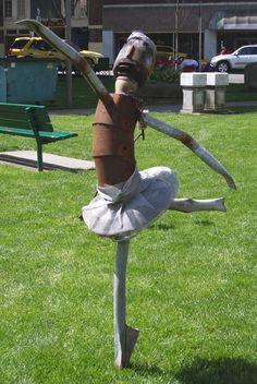 Ballerina yard art.