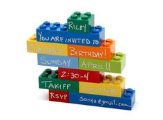 LEGO Invitation ~ Construct a shape and write the party details on the bricks with a permanent pen