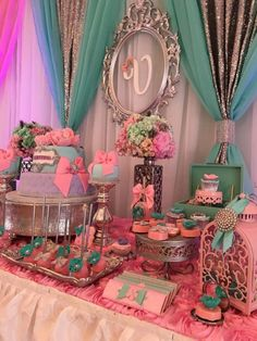Teal-And-Pink-Modern-Chic-Baby-Shower-Backdrop-Frame