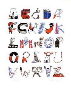 """ARTFINDER: LONDON A- Z by Helen Lang - """"Musicalphabet"""" is a wonderful typographic print where musical icons from Adele to Dolly, Jarvis, Ozzy & Zappa are all represented as letters of the alphabet. Alphabet Design, Alphabet Art, Alphabet And Numbers, Typography Alphabet, Typography Fonts, Grafik Design, Totoro, Lettering Design, Illustration"""