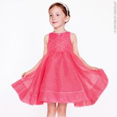 Organza and tulle party dress with Swarovski rhinestones, Tartine et Chocolate girls SS15