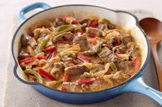 Creamy Pepper Steak Recipe - Kraft Recipes. I have made this with salsa con queso instead of velveeta. pretty good over rice or pasta. it's not gonna blow your socks off, but it's tasty and easy for a weeknight!