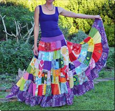 Rainbow Magic Patchwork maxi Skirt   size XS up by eviegreenpixie