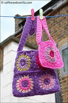 Here is link for pattern: http://www.coffeeandvanilla.com/flowery-granny-square-crochet-pattern/For inspiration. Very general pattern instructions. Boho Style Granny Square Bags - Crochet Pattern