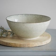This large slip glazed stoneware bowl is perfect fruit, salad or just sitting pretty on it's own.  - A Broste Product - Due to the unique nature of this item the colour may vary slightly from the photograph