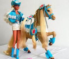 leilão! antiga barbie country cavalo estrela/mattel anos 90