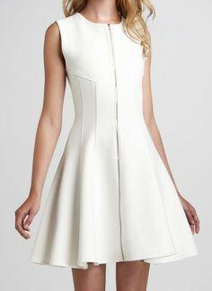 White Round Neck Sleeveless Zipper Dress