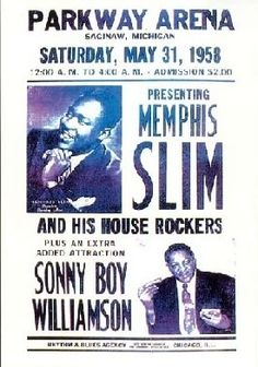 memphis Slim Sonny boy Williamson may Jazz Poster, Blue Poster, Vintage Concert Posters, Music Posters, Kind Of Blue, Love Blue, Memphis Slim, Sonny Boy, Soul Singers