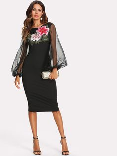 To find out about the Flower Applique Mesh Overlay Dress at SHEIN, part of our latest Dresses ready to shop online today! Sheer Embroidered Dress, Bodycon Dress Parties, Party Dress, Spandex Dress, Embroidery Dress, Latest Dress, Buy Dress, Vintage Dresses, Floral Dresses