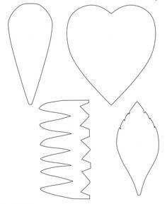 Medidas daFlor tamanho Gigante (Imprima o Molde na proporção 200%): Pétala simples: 25cm de altura x 12cm de largura Pétala de Coração: 25cm x 25cm Folhas: 25cm de altura x 15cm de largura Corola: 12cm de altura x 25 de comprimento