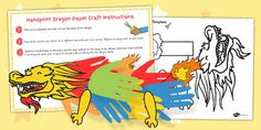 Chinese New Year Handprint Paper Dragon Craft - twinkl