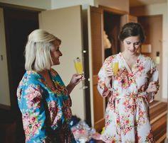 SALE Set of 2 Bridesmaids robes Kimono Crossover by silkandmore
