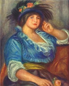 Young woman with a rose in her hat - Pierre-Auguste Renoir.... 1841–1919) was a French artist who was a leading painter in the development of the Impressionist style.