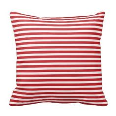Christmas Red and White Chevron Stripes Throw Pillow - red gifts color style cyo diy personalize unique Purple Throw Pillows, White Pillows, Decorative Throw Pillows, Decor Pillows, Red And White Stripes, Blue And White, Yellow, Nautical Stripes, Chevron
