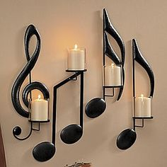 Treble clef music note sconces