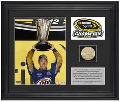 Brad Keselowski 2012 NASCAR Sprint Cup Series Champion Framed Coin - Fanatics Authentic Certified - NASCAR Driver Plaques and Collages