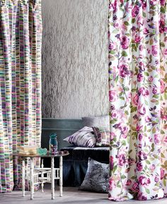 """""""Fauve"""" to the left. """"Luiza"""" to the right. """"Zelva"""" wallcovering.  All Astratto collections.."""