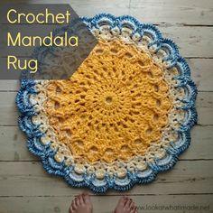 Crochet Mandala Rug by Lookatwhatimade. Made using John P Kelly's Mandala 21 pattern.