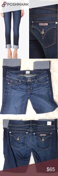 "Hudson Ginny crop dark jeans straight cuff 29 Very good used condition. Hudson Ginny crop jeans size 29, all measurements were taken laying flat; waist-15"",  inseam-27"", rise-8"" Hudson Jeans Jeans Ankle & Cropped"