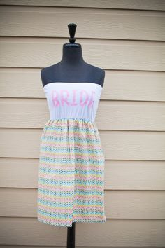 Pretty Little Thing BRIDE Dress Pink/White Med/Lg by thearmorofGod, $49.00