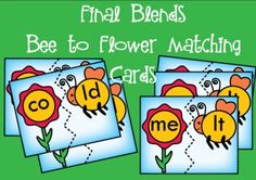 Final Consonant Blends  Bee to Flower Puzzle Cards