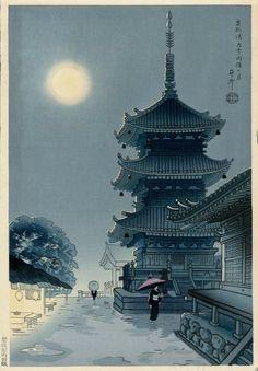 Asada Benji 麻田辨次 - Moon at Kiyomizu Temple
