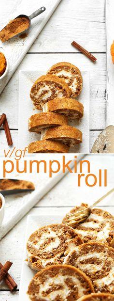 AMAZING Vegan Gluten Free Pumpkin Roll Perfect for the holidays and beyond #vegan #glutenfree #recipe #pumpkin #roll #minimalistbaker
