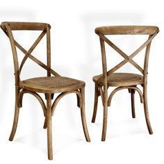 Joveco Antique Style Solid Wood Dining Chair with X Back Soft Rattan Seat - Set of 2 - JCH04   Jovecoinc.com