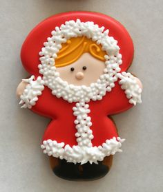 Snow Girl Decorated Cookie How-To ~ using a snowman cookie cutter