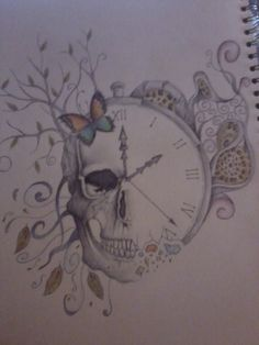 clock tattoo designs | Rachel Collett › Portfolio › Skull/Clock etc tattoo design