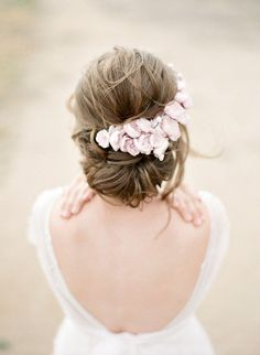 FRENCH INSPIRED PINK SILK BLOSSOM BRIDAL HEADPIECE   This romantic pale pink silk flower bridal headpiece has been created with untouched vintage