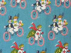 Retro Fabric Snowmen & Snowwomen On Candycane Bicycles Vintage Christmas Holiday, End of Bolt 1 Yard by LaCreekBlue on Etsy