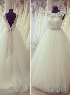 Sweety illusion lace scoop neck open back princess wedding dress