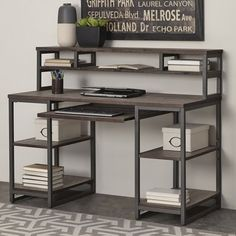 Home Office Furniture: Choosing The Right Computer Desk Furniture, Etagere Bookcase, Vintage Industrial Furniture, Desk Furniture, Industrial Design Furniture, Metal Furniture, Desk Design, Steel Furniture, Wood Desk