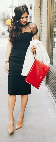 Maggy London Black Dress with So Kate Patent Red Sole Pump, Nude and Red Studs Clutch - The Sweetest Thing
