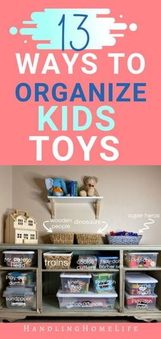 13 ways to organize your kids toys. Toys organization ideas for small spaces. Informations About 13 Ways to Organize Kids Toys (even if you don't have a playroom) Pin You can easily Diy Organisation, Small Space Organization, Playroom Organization, Playroom Ideas, Playroom Design, Organized Mom, Staying Organized, Multiplication For Kids, Organizing Your Home