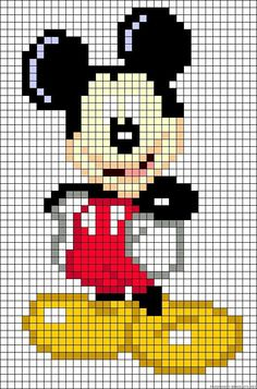 Discover thousands of images about also could use for cross stitch too.Mickey Mouse perler bead pattern by alissa Hama Beads Patterns, Loom Patterns, Beading Patterns, Perler Bead Art, Perler Beads, Beaded Cross Stitch, Cross Stitch Embroidery, Cross Stitch Baby, Pixel Art Mickey