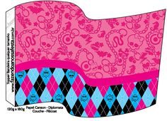 Pink Monster High: Free Party Flag food Printables.