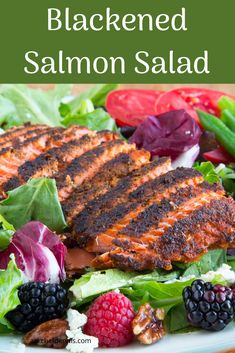 Blackened Salmon salad makes the perfect addition to your summer dinner menu. Healthy eating doesn't have to be boring when you add in these flavors