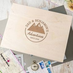 A wooden personalised 'Adventure' storage box for Dad beautifully engraved with details of your choice and optional secret message. Whether the adventure is grand or seemingly small, this thoughtfull. Sticker Art, Decals, Deco Champetre, Pantry Labels, Gifts For Father, Keepsake Boxes, Vinyls, Etsy, Paper Crafting