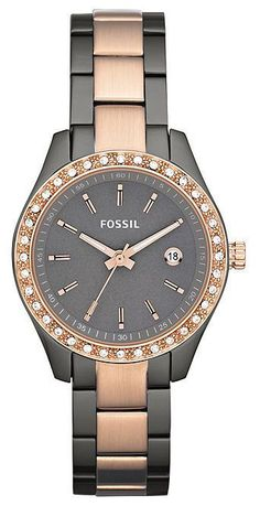 $90 Fossil Watches -  $90 Fossil Watches - Rose Gold and Smoke Ion Ladies Watch