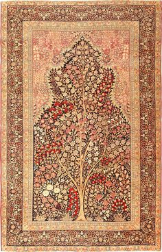 View this beautiful tree of life design Persian Kerman rug 49168 from Nazmiyal Collection in New York City.
