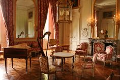 Palace of Versailles Rooms, Living Room, Petit Trianon, Palace of Versailles. On the floor a beautiful Versailles Parquet