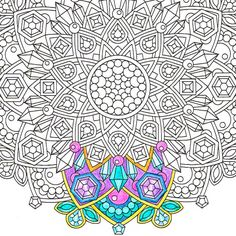 #Jewel in the #Lotus #printable #crystal #mandala #adultcoloring page by #CandyHippie on #Etsy