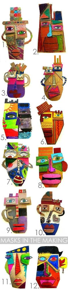 Picasso Masks In the Making - -You can find Masks and more on our website.Picasso Masks In the Making - - Middle School Art, Art School, Cardboard Mask, 4th Grade Art, Ecole Art, School Art Projects, Art Lessons Elementary, Elementary Teaching, Art Lesson Plans