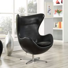 Leather Cell Chair in Black