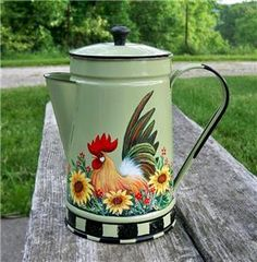 frenh+country+painted+coffee+pots | Sage Green Enamel Coffee Pot HP ROOSTER HandPainted Sunflowers